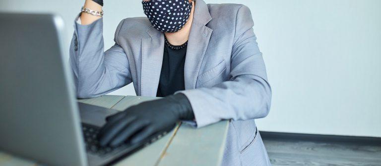 Man working from home because coronavirus. Business man in quarantine for coronavirus.
